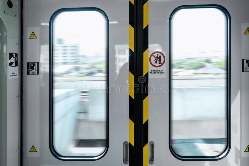 Automatic Metro Skytrain Doorway Inside Vehicle Transport Seat, Electric Security Entrance Door of Public Transportation Train in stock photos