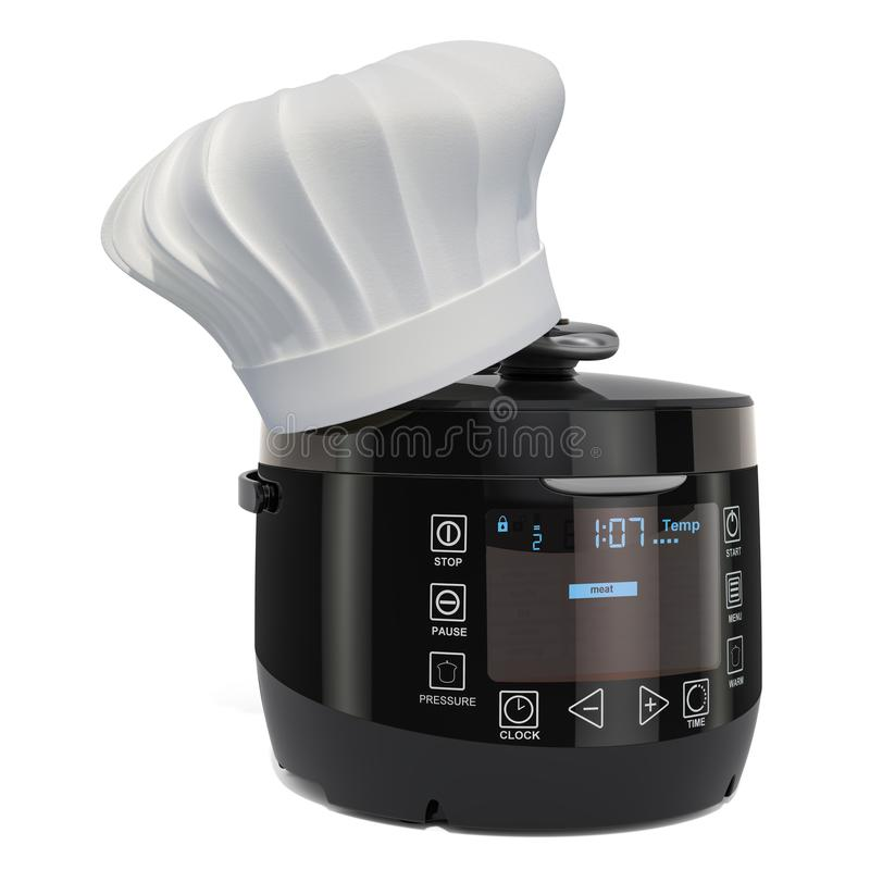 Automatic Multicooker with Chefs Hat, cooking concept. 3D rendering. Isolated on white background stock illustration
