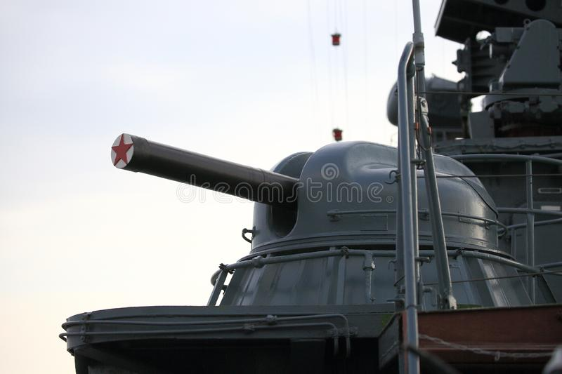The automatic naval close-in weapon system AK-630 with covered muzzle. Closeup stock photos