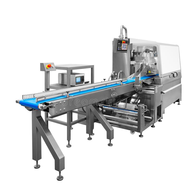 Automatic packing machine with plastic bag and paper box royalty free stock photography