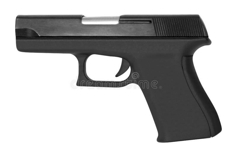 Automatic pistol gun firearm for sport or personal protection or defense isolated. On white background stock images