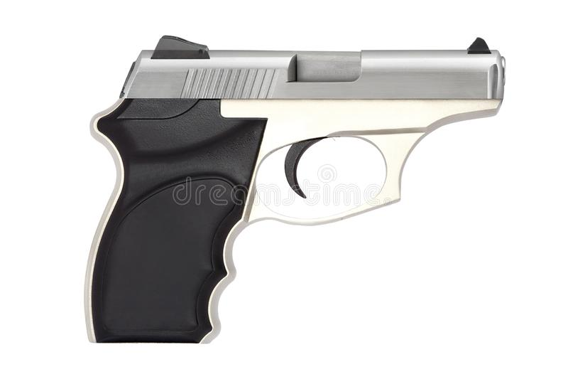 Automatic pistol gun firearm for sport or personal protection or defense isolated. On white royalty free stock photo