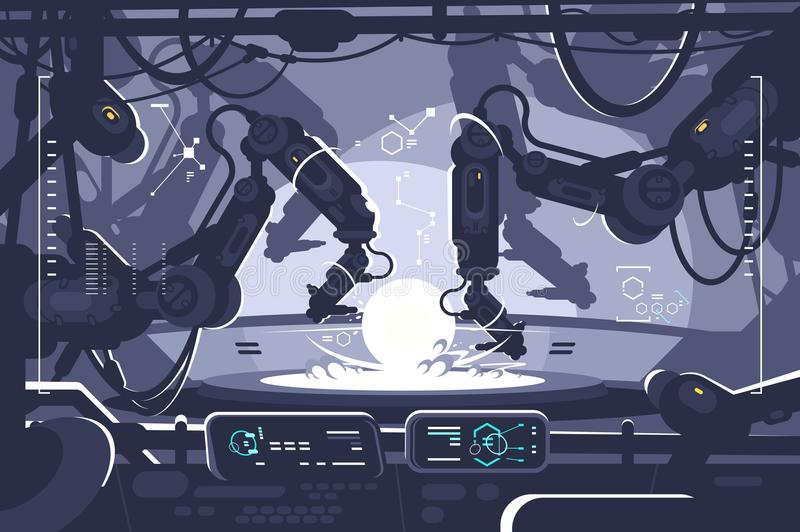 Automatic robot in industrial production stock illustration