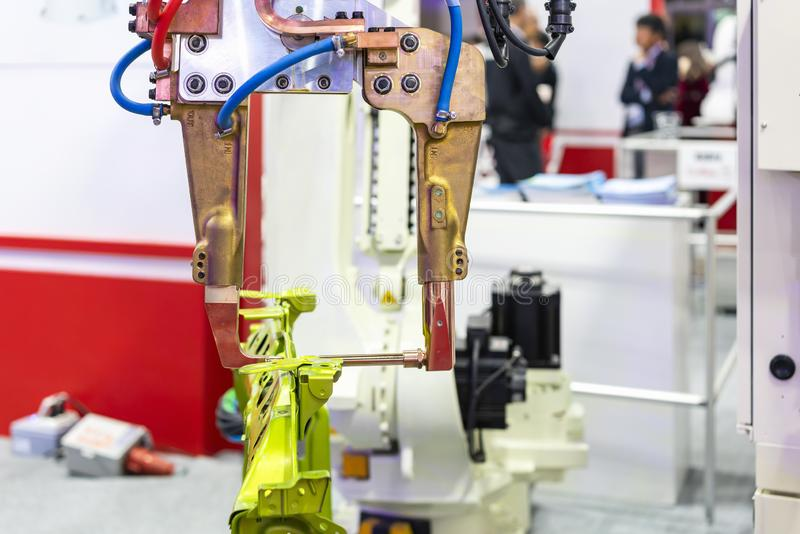 Automatic robot resistance spot welding machine and automotive product for industrial at workshop or factory.  stock photo