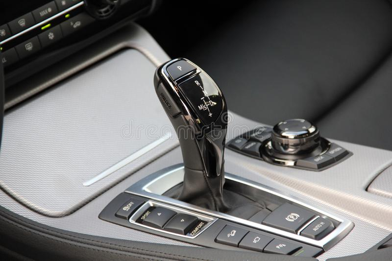 Automatic selector lever in the passenger car royalty free stock photos