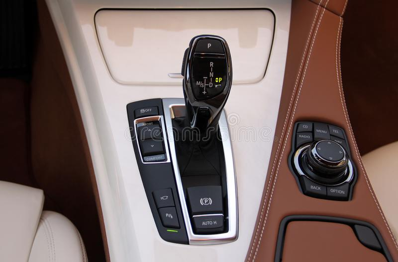 Automatic gear shift, and car panel buttons royalty free stock photo