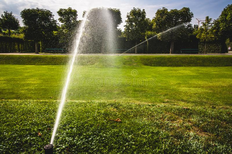 automatic sprinkler system watering the lawn on a background of green grass. Garden irrigation system watering lawn on a sunny stock photos