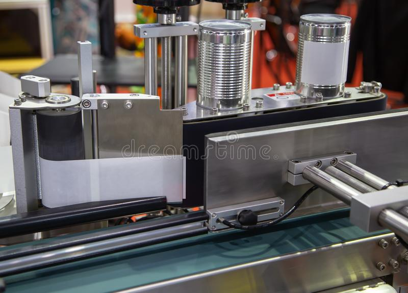 Automatic tin can label machine royalty free stock photography