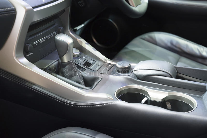 Automatic transmission gear shift in car.  stock photo