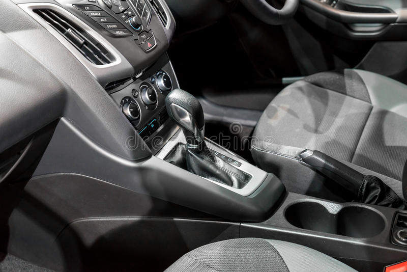 Automatic transmission gear shift in car.  stock photography