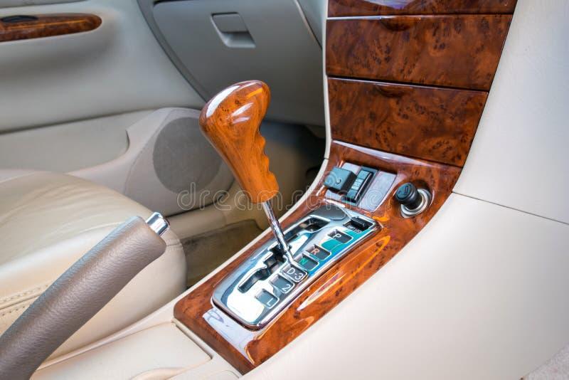 Automatic transmission gear shift. Car interior decorate wood. Automatic transmission gear shift stock image
