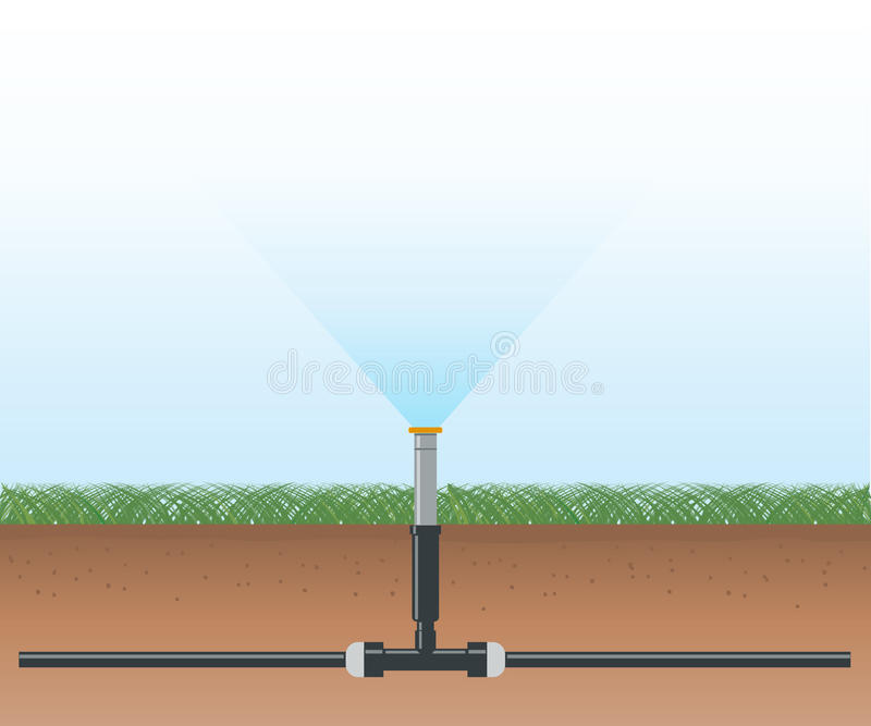 Automatic Water Irrigation System vector illustration