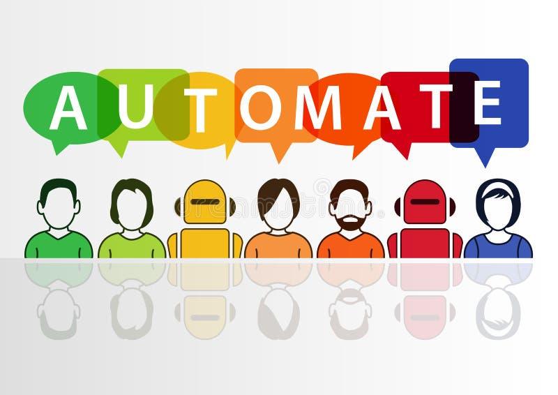 Automatice el texto con las burbujas del discurso de los robots y de la gente libre illustration