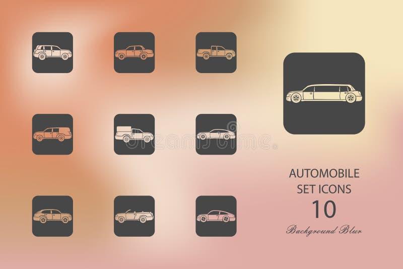 automatics 设置在被弄脏的背景的平的象 向量例证
