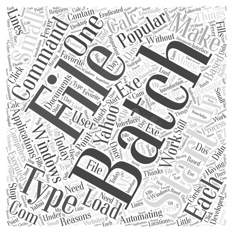 Automating Things with Batch Files word cloud concept background. Text vector illustration