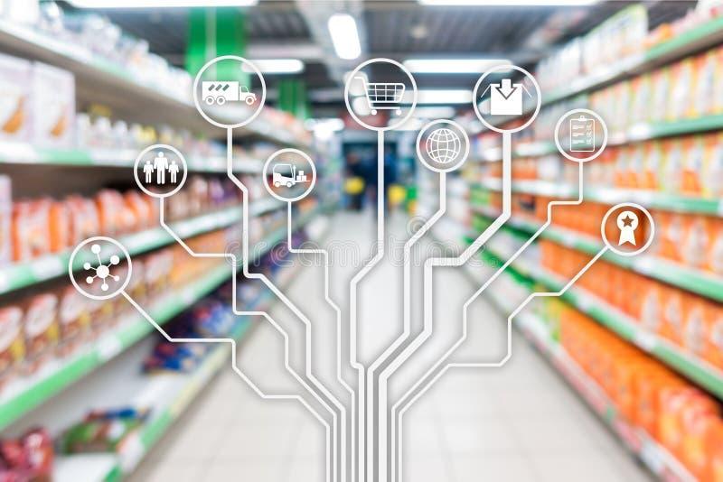 Automation au d?tail d'achats de commerce ?lectronique de canaux de vente de concept sur le fond brouill? de supermarch? image libre de droits