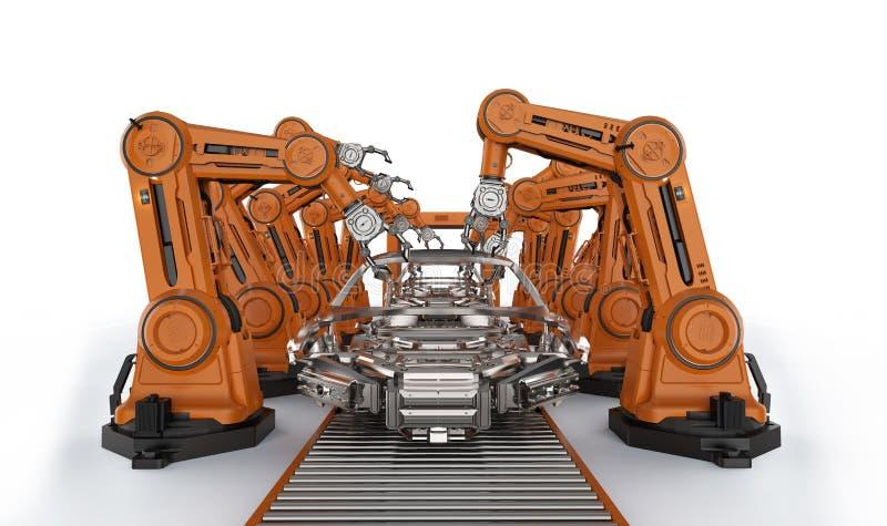 Automation aumobile factory concept stock illustration