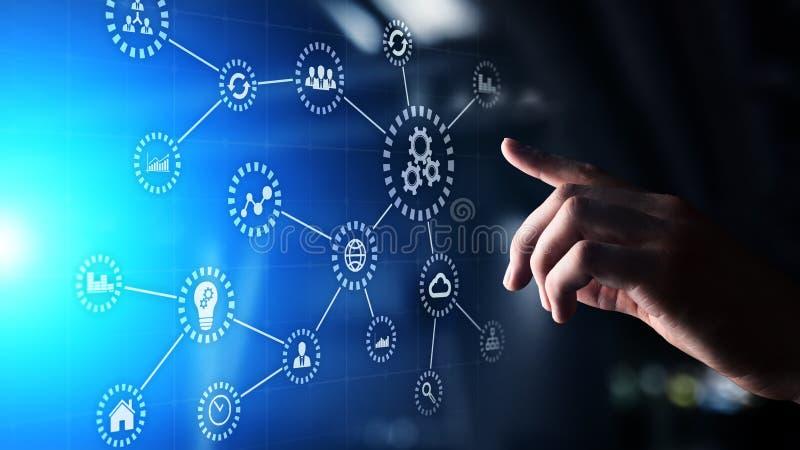 Automation bransch 4 0 IOT, internet av sakerbegreppet p? den faktiska sk?rmen arkivbild