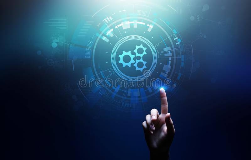 Automation, Business and industrial process workflow optimisation, software development concept on virtual screen. royalty free stock photo