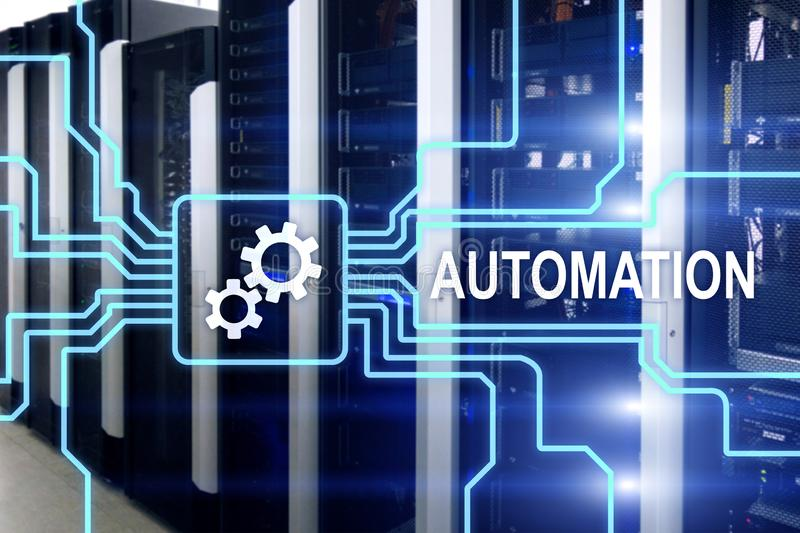 Automation of business Process and innovation technology in manufacturing. Internet and technology concept on server room. Background royalty free illustration