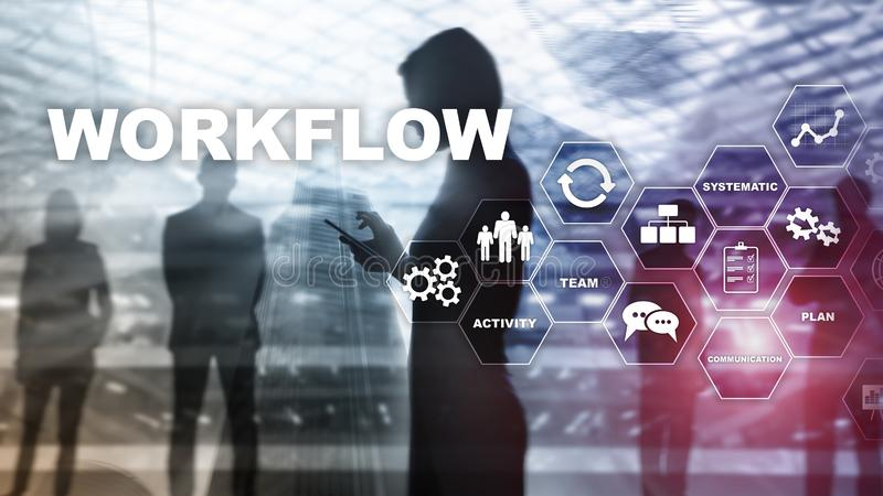 Automation of business workflows. Work process. Reliability and repeatability in technology and financial processes stock photos