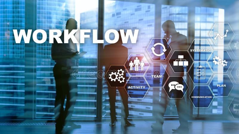 Automation of business workflows. Work process. Reliability and repeatability in technology and financial processes. royalty free stock photography