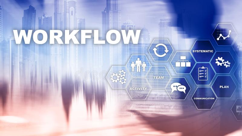 Automation of business workflows. Work process. Reliability and repeatability in technology and financial processes. royalty free stock photo