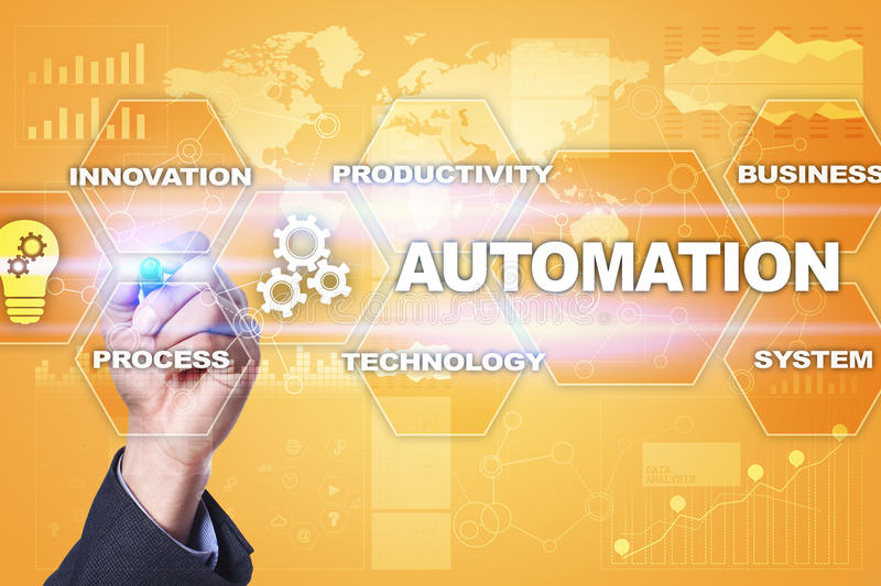 Automation concept as innovation, improving productivity in business processes. Automation concept as an innovation, improving productivity, reliability and royalty free stock photo