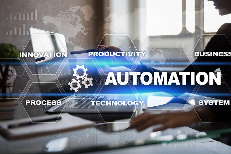 Automation concept as innovation, improving productivity in technology processes royalty free stock photo