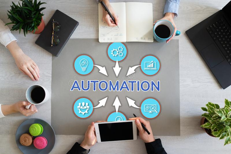 Automation Concept Business Process Innovation technology business peoples working in office. stock photography