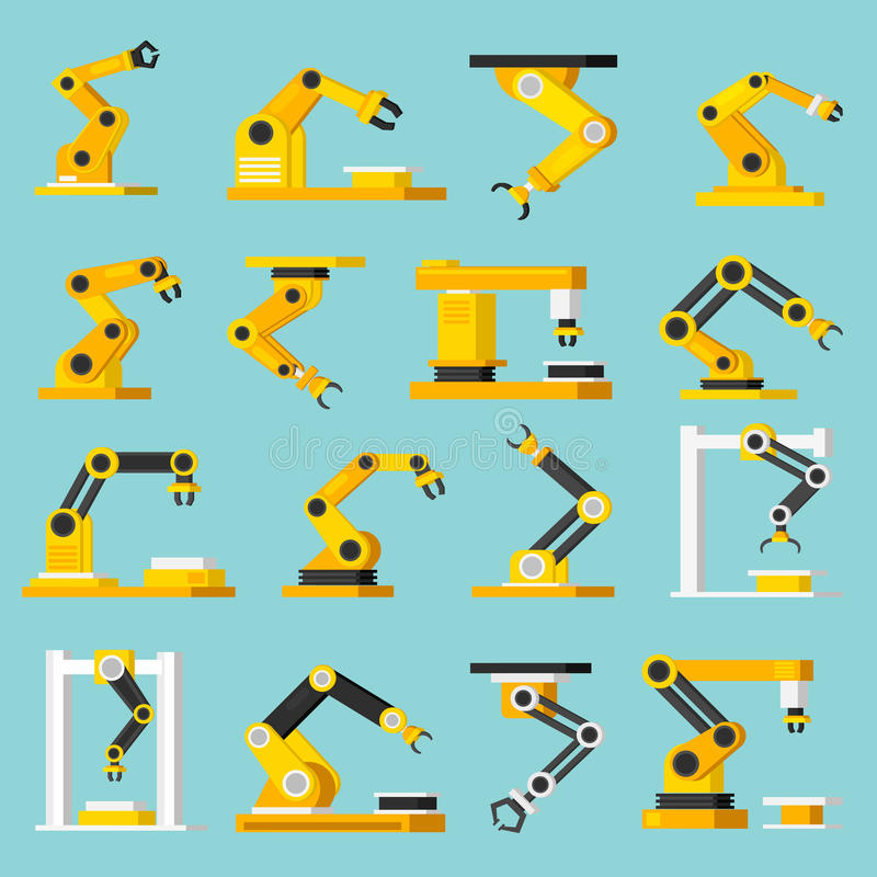 Automation Conveyor Orthogonal Flat Icons Set royalty free illustration