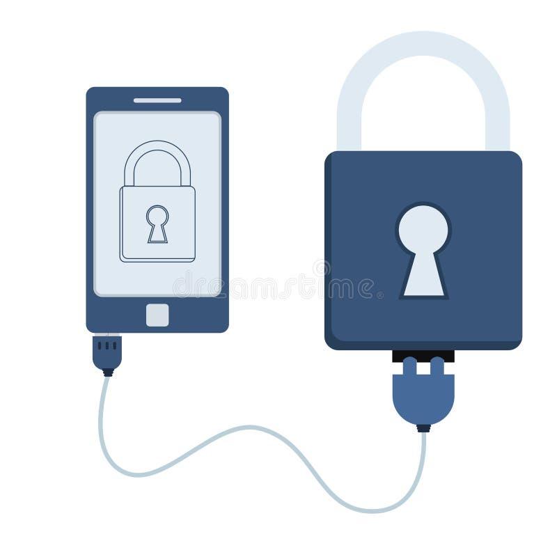 Automation de cadenas utilisant le téléphone portable illustration de vecteur