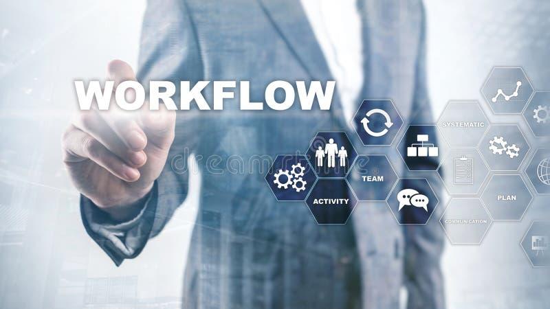Automation des déroulements des opérations d'affaires Procédé de travail Fiabilité et répétabilité en technologie et processus fi photos libres de droits