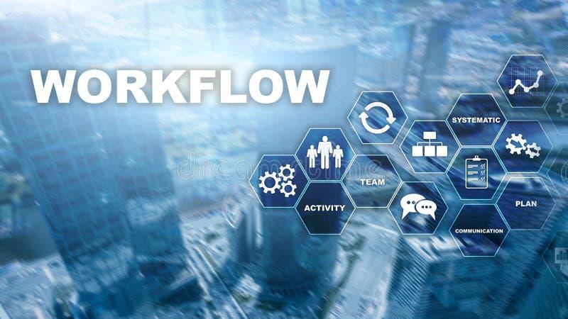 Automation des déroulements des opérations d'affaires Procédé de travail Fiabilité et répétabilité en technologie et processus fi photos stock