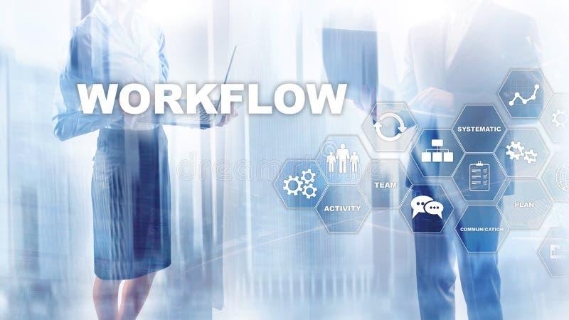 Automation des déroulements des opérations d'affaires Procédé de travail Fiabilité et répétabilité en technologie et processus fi photo stock