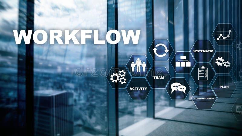 Automation des déroulements des opérations d'affaires Procédé de travail Fiabilité et répétabilité en technologie et processus fi photo libre de droits