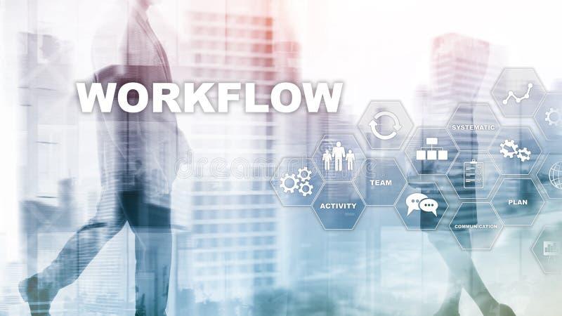 Automation des déroulements des opérations d'affaires Procédé de travail Fiabilité et répétabilité en technologie et processus fi image stock