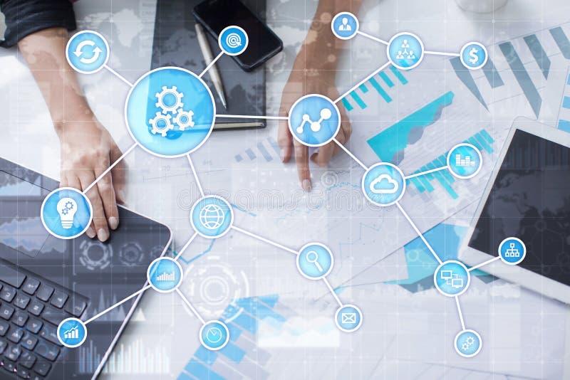 Automation för affär och för fabriks- process, smart bransch, innovation och modernt teknologibegrepp vektor illustrationer