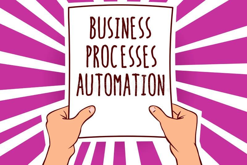 Automation för processar för affär för textteckenvisning Det begreppsmässiga fotoet utförde för att uppnå digitalt papper im för  stock illustrationer