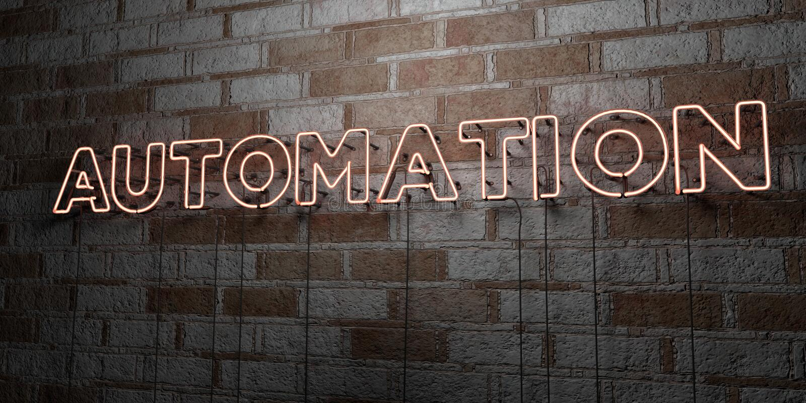 AUTOMATION - Glowing Neon Sign on stonework wall - 3D rendered royalty free stock illustration vector illustration
