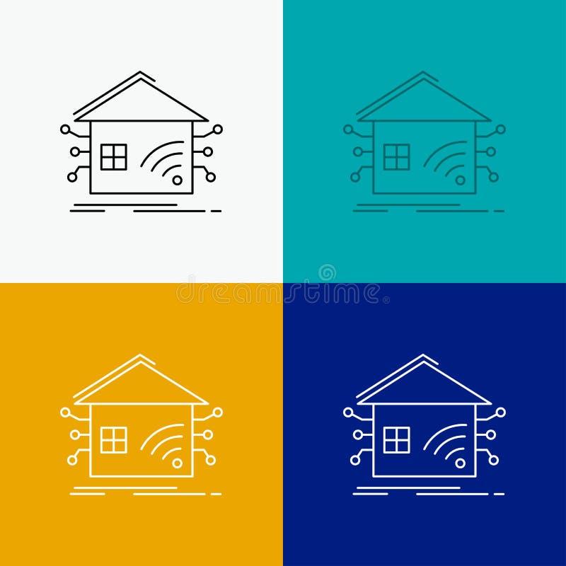 Automation hem, hus som ?r smart, n?tverkssymbol ?ver olik bakgrund Linje stildesign som planl?ggs f?r reng?ringsduk och app Vekt stock illustrationer