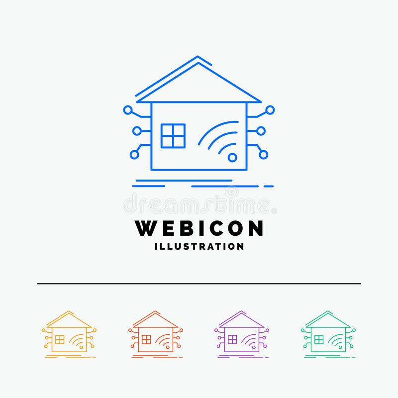 Automation, home, house, smart, network 5 Color Line Web Icon Template isolated on white. Vector illustration stock illustration