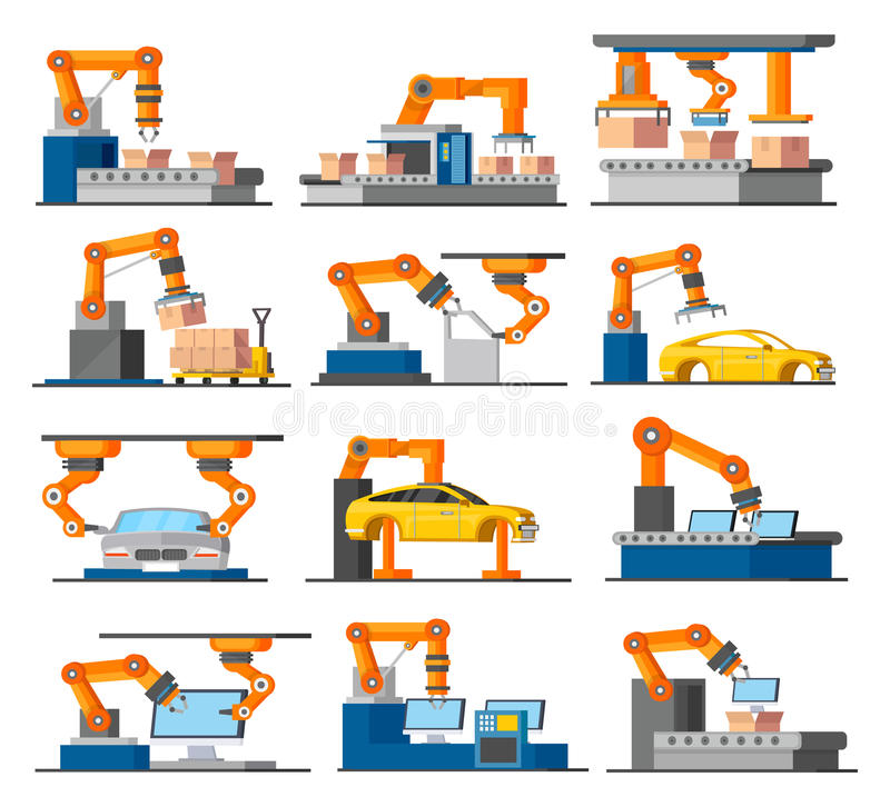 Automation Industrial Process Elements Set. With robotic arms working on assembly and packaging line isolated vector illustration stock illustration