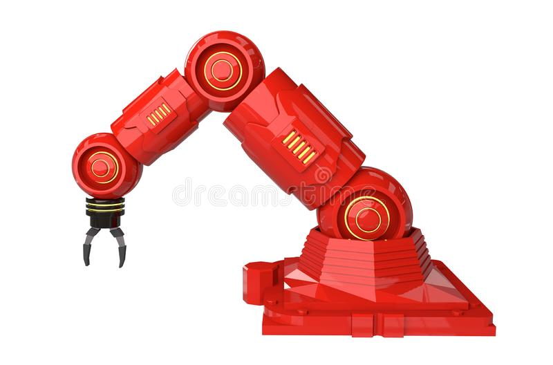 Automation industry concept with 3d rendering robot arms on white background - Illustration stock illustration