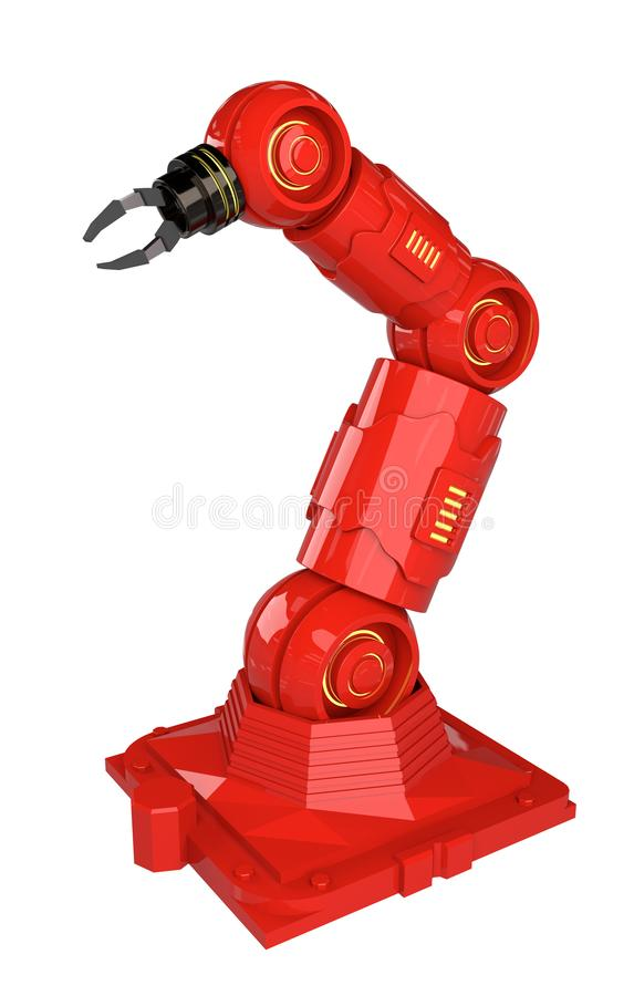 Automation industry concept with 3d rendering robot arms on white background - Illustration royalty free illustration