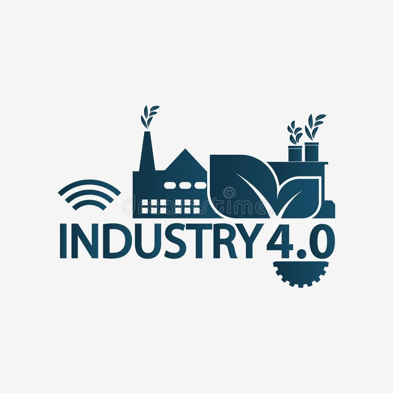 Automation Industry 4.0 icon,logo factory,technology concept. illustration vector illustration