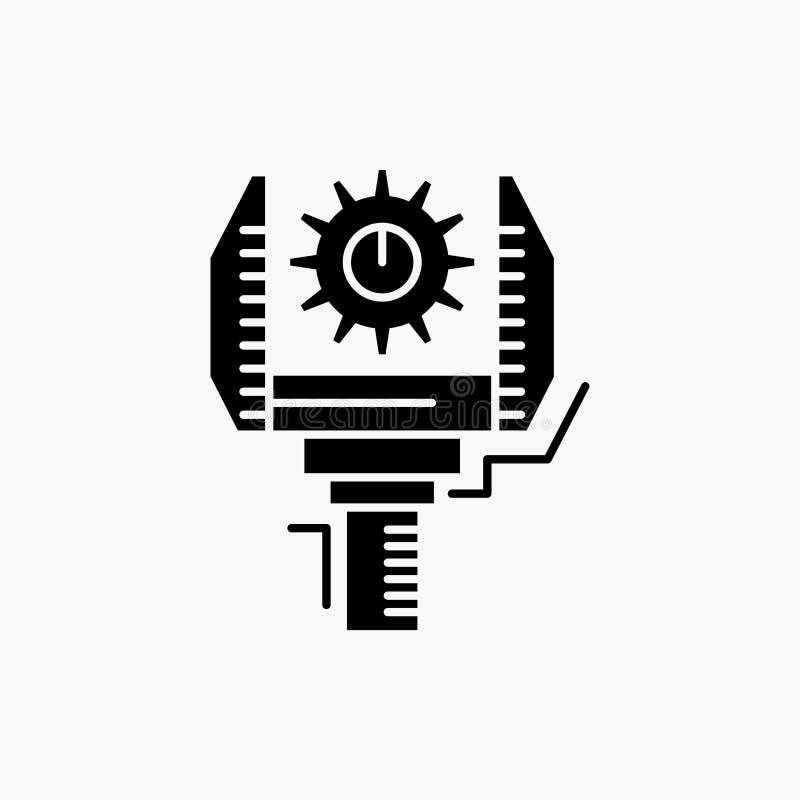 Automation, industry, machine, production, robotics Glyph Icon. Vector isolated illustration stock illustration