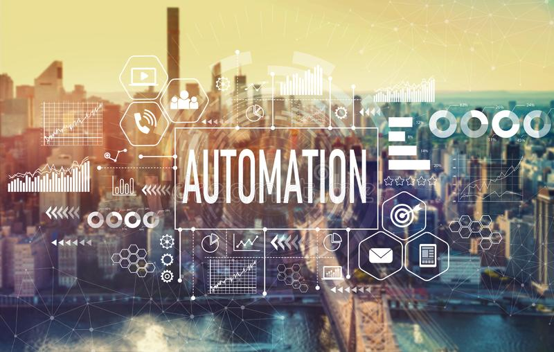 Automation with New York City. Automation with the New York City skyline near midtown stock photography