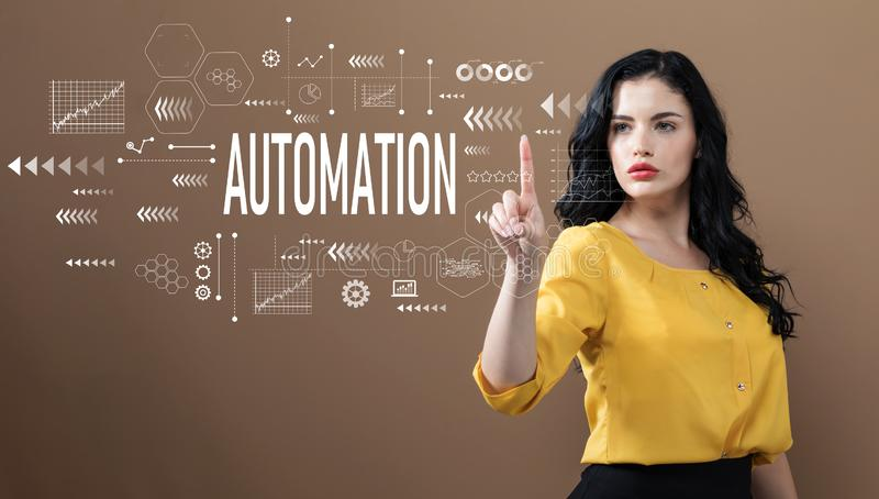 Automation text with business woman royalty free stock image