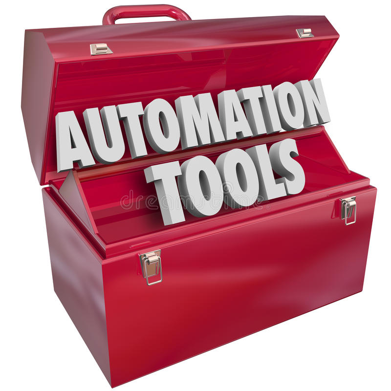Automation Tools Toolbox Modern Technology Efficiency Productivity. Automation Tools 3d letters form word in red metal toolbox to illustrate modern technology to stock illustration